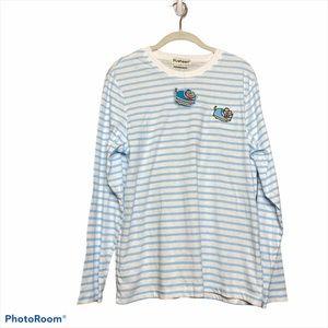 Pusheen cat blue white striped longsleeve tshirt